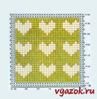 урок 18 узор сердечки на примере вязания по кругу